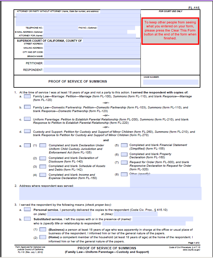 Form: NEW APPLICATION FORM FOR CHILD CUSTODY